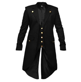 Steampunk Gothic Mens Vintage Tailcoat Jacket Golden Button