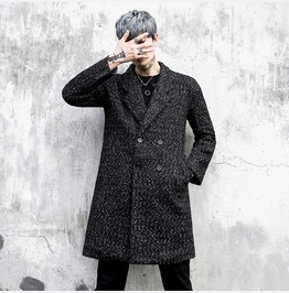 Men's Winter Wool Blend Warm Trench Coat Double Breasted Jackets