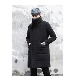 Men Black Cotton Coat Warm Overcoat Outwear Padded Winter Coat