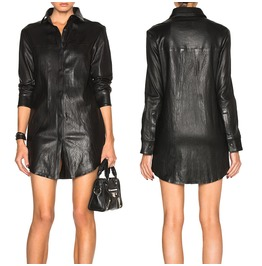 Women Lambskin Leather Shirt Gothic Mini Unlined Raw Cut Short Moto Style S