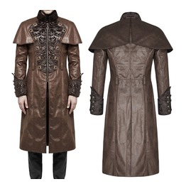 Men Punk Leather Coat Steampunk Brown Faux Leather Gothic Regency Wedding C