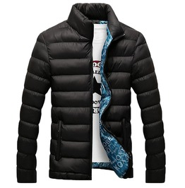 Mandarin Collar Thick Quilted Winter Jacket Men