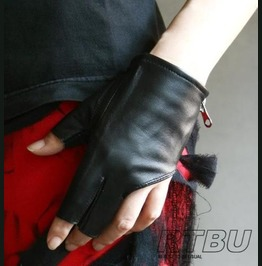 Genuine Leather Lambskin Sheepskin Punk Rock Biker Fingerless Zip Gloves