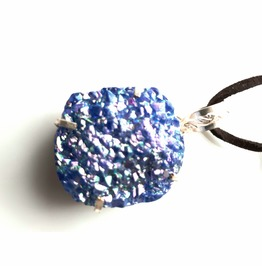 Cool Druzy Stone 925 Silver Pendant On Suede Leather Long Strap