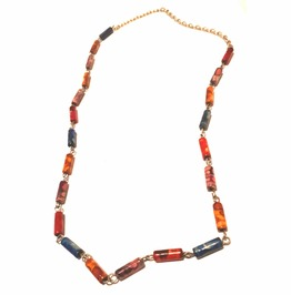 Cool Textured Marble Look Tube Bead Necklace Colouful