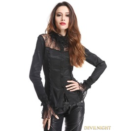 Black Long Sleeves Beading Gothic Blouse For Wome C020025