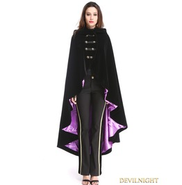 Black And Purple Gothic Female Woolen Long Hoodie Coat M080034 Vi