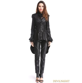 Black Gothic Pu Leather Swallow Tail Jacket For Women M080077