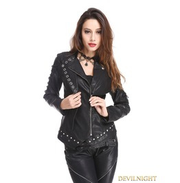Black Pu Leather Rivets Gothic Punk Short Jacket For Women M080083