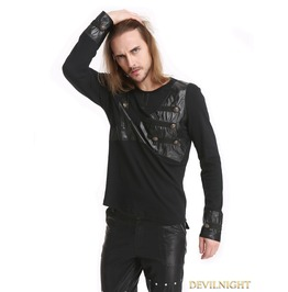 Black Gothic Punk Rivet Belt Long Sleeves T Shirt For Men T020059