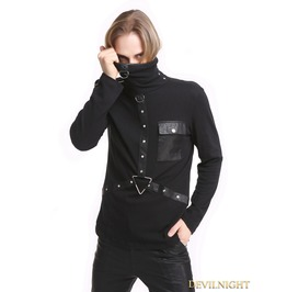 Black Gothic Punk High Necked Shirt For Men T020063