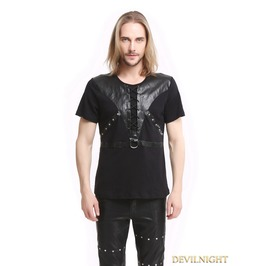 Black Gothic Punk Soilder Short Sleeves T Shirt For Men T020055