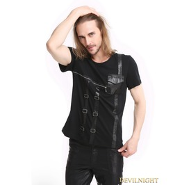 Black Gothic Punk Zipper Short Sleeves T Shirt For Men T020060