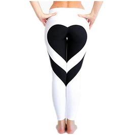 Black Heart Print Tight Leggings