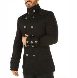 Gothic Steampunk Military Jacket Mens Top Mandarin Collar Smart Trench Coat