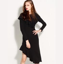 Ruffles Fishtail Long Sleeves Black Dress