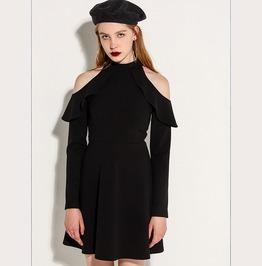 Off Shoulder Long Sleeves Black Dress