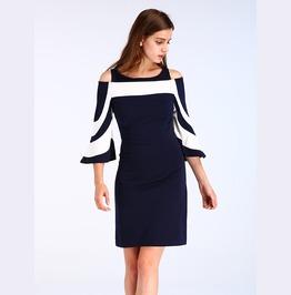 Cut Shoulder Black And White Half Sleeves Dress