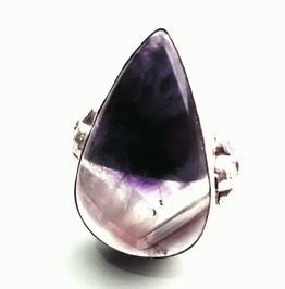 Striking! 925 Silver Teardrop Amethyst Gemstone Ring Us 6.5 Uk M