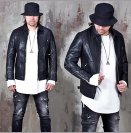 Simple Washed Leather Rider Jacket 118