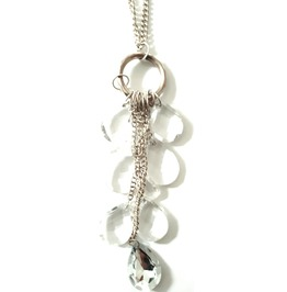 Long Chain Necklace With Clear Teardrop Beads