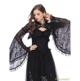 Black Gothic Lace Cape With Big Sleeves Bw040
