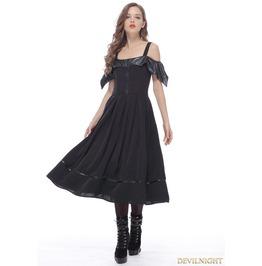 Black Gothic Bat Style Off The Shoulder Dress Dw135