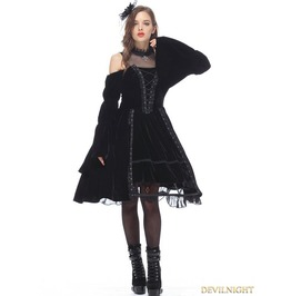 Black Noble Velet Gothic Princess Dress Dw142