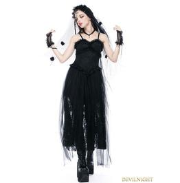 Black Romantic Gothic Spaghetti Straps Lace Dress Dw146
