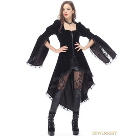 Black Gothic Noble Velvet Cocktail Jacket For Women Jw104
