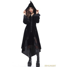 Black Gothic Witch Mysterious Velvet Coat With Detachable Cross Jw109