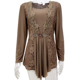 Brown Lace Floral Long Sleeves Tops