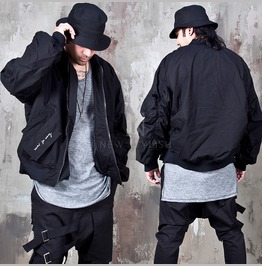 Distressed Wrinkled Oversized Sleeves Bomber Jacket 292