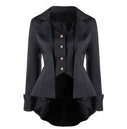 Single Breast Turn Down Collar Long Sleeves Outerwear Tops
