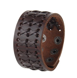 Unisex's Adjustable Handmade Faux Leather Wide Belt Bracelet