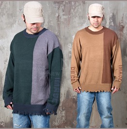 Contrast Distressed Hem Knit Sweater 49