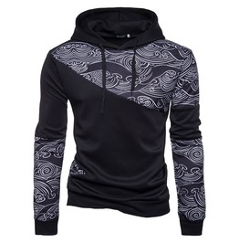 Men's Chinese Style Printed Colorblock Slim Fitted Hoodies