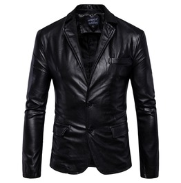Men's Turn Down Collar Button Slim Fitted Faux Leather Jacket