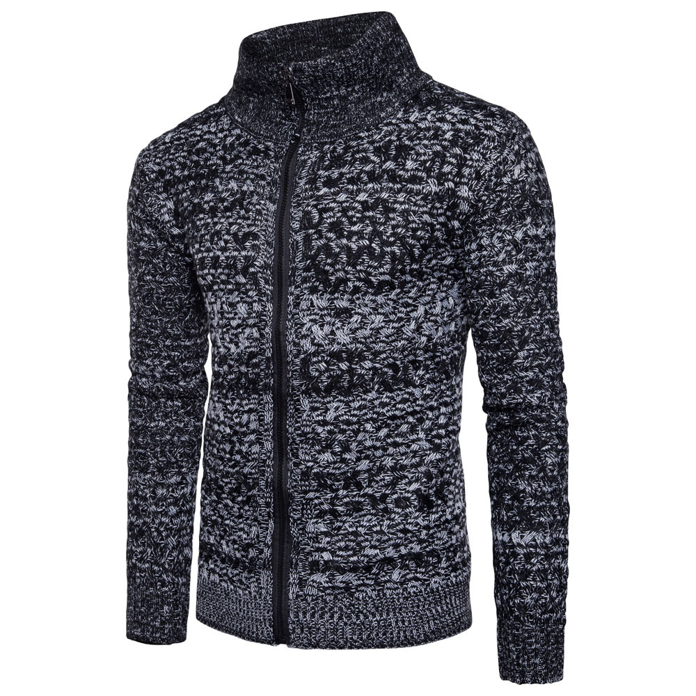 Men's Casual Slim Full Zip Thick Knitted Cardigan Sweaters 155096
