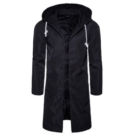 Men's Casual Slim Fiited Drawstring Midi Dust Coat
