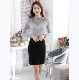Slim Fit Long Sleeves Lace Tops