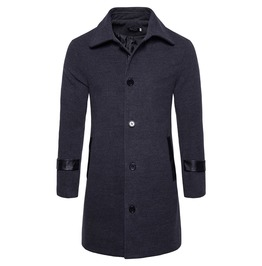 Men's Turn Down Collar Single Breasted Midi Woolen Overcoat