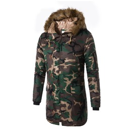 Men's Camouflage Printed Fur Collar Thick Coat