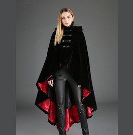 Black And Red Gothic Female Clock Long Hoodie Coat