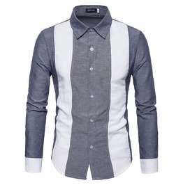 Men's Colorblock Color Slim Fitted Button Down Shirt