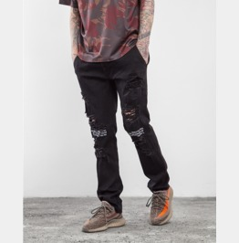 Men's Fashion Distressed Patchwork Skinny Jeans