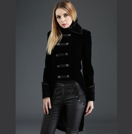 Gothic Women Swallow Tail Double Breasted Coat
