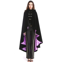 Gothic Female Black And Purple Clock Long Hoodie Coat
