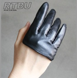 Genuine Leather Fashion Runway Party Club Four 4 Finger Glove Half Lambskin