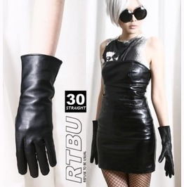 28cm Mid Forearm Genuine Leather Runway Fashion Party Cosplay Lady Gloves